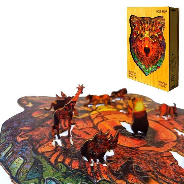Medve bear alion Puzzle Játék Kirakó Puzzle Fa